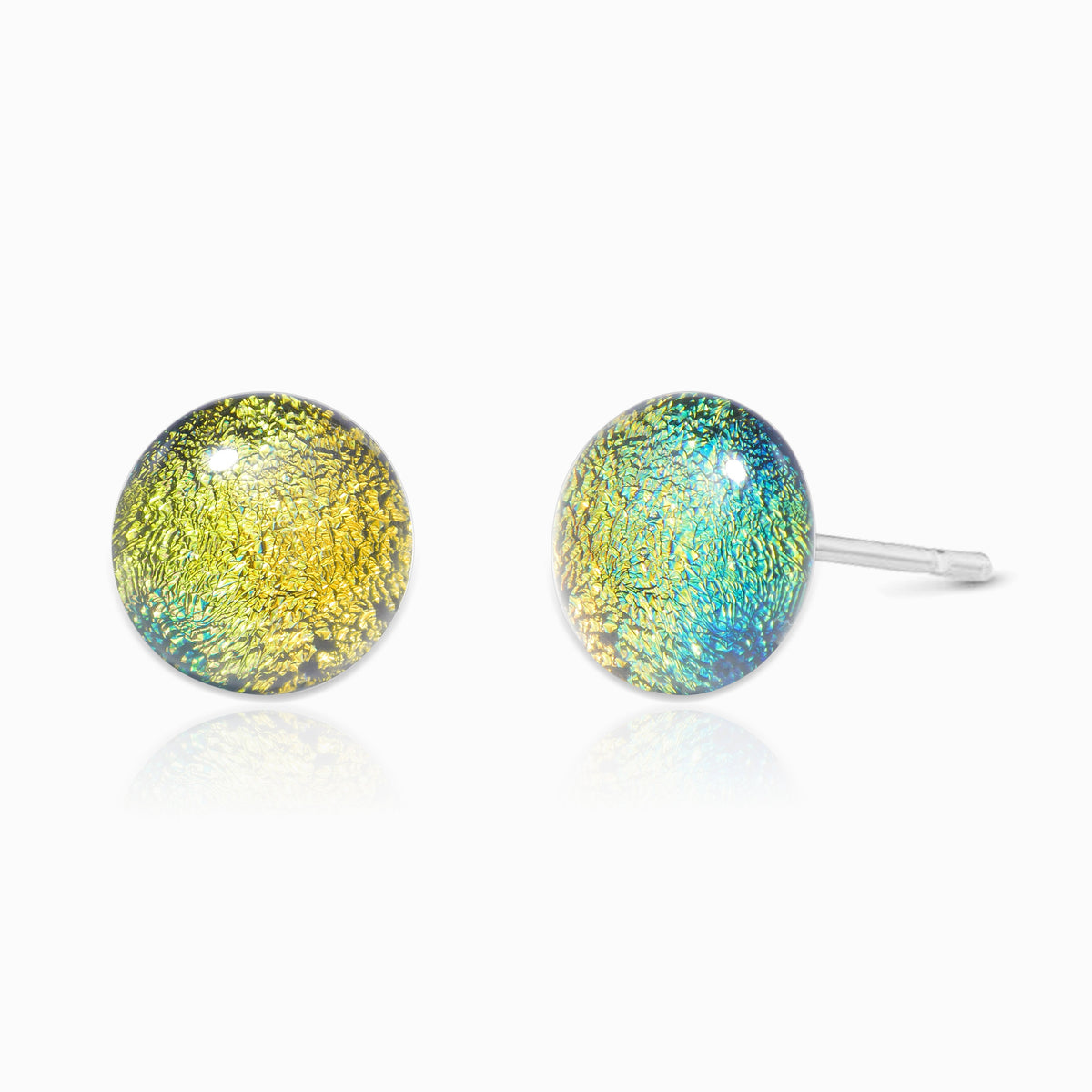 Microcosmoses EARRINGS GLASS REFLET EARRINGS GOLD ~ GREEN BOKEH | ECLIPSE | STUD | REFLET