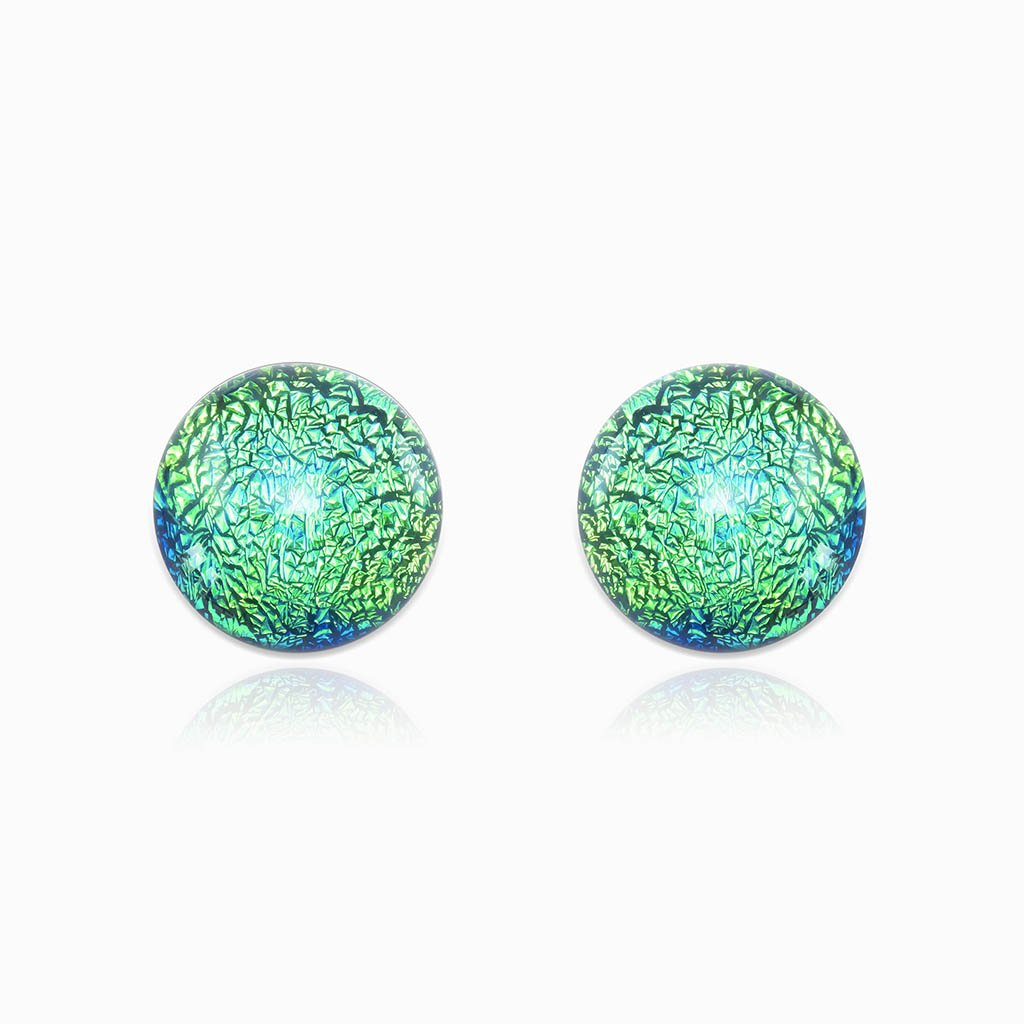 Microcosmoses EARRINGS GLASS REFLET EARRINGS GREEN KELLY ~ BLUE BELIZE | ECLIPSE | STUD | REFLET