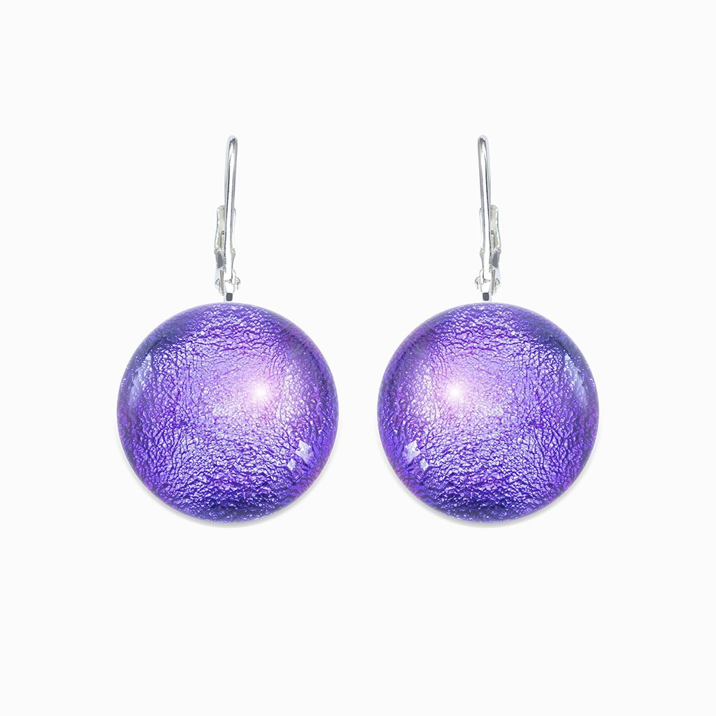 Microcosmoses EARRINGS GLASS REFLET EARRINGS INDIGO ~ ETERNAL FUSHIA | ECLIPSE | SILVER 925 | REFLET