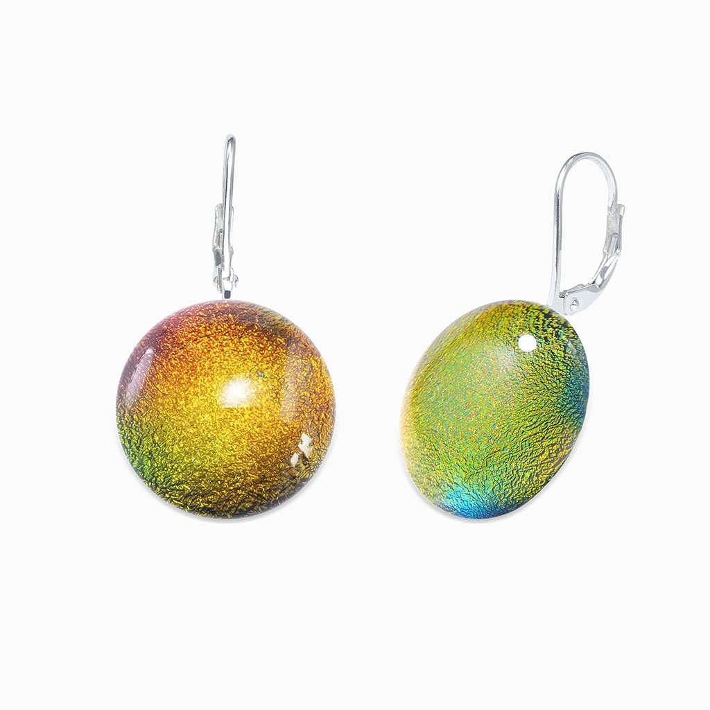 Microcosmoses EARRINGS GLASS REFLET EARRINGS ORANGE FIRE ~ CRYSTAL GREEN | ECLIPSE | SILVER 925 | REFLET