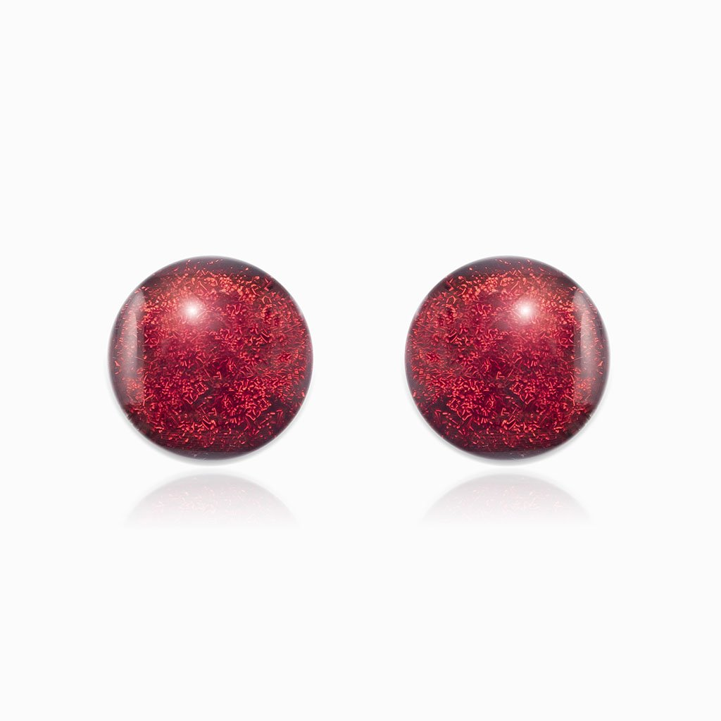 Microcosmoses EARRINGS GLASS REFLET EARRINGS RED | ECLIPSE | STUD | REFLET