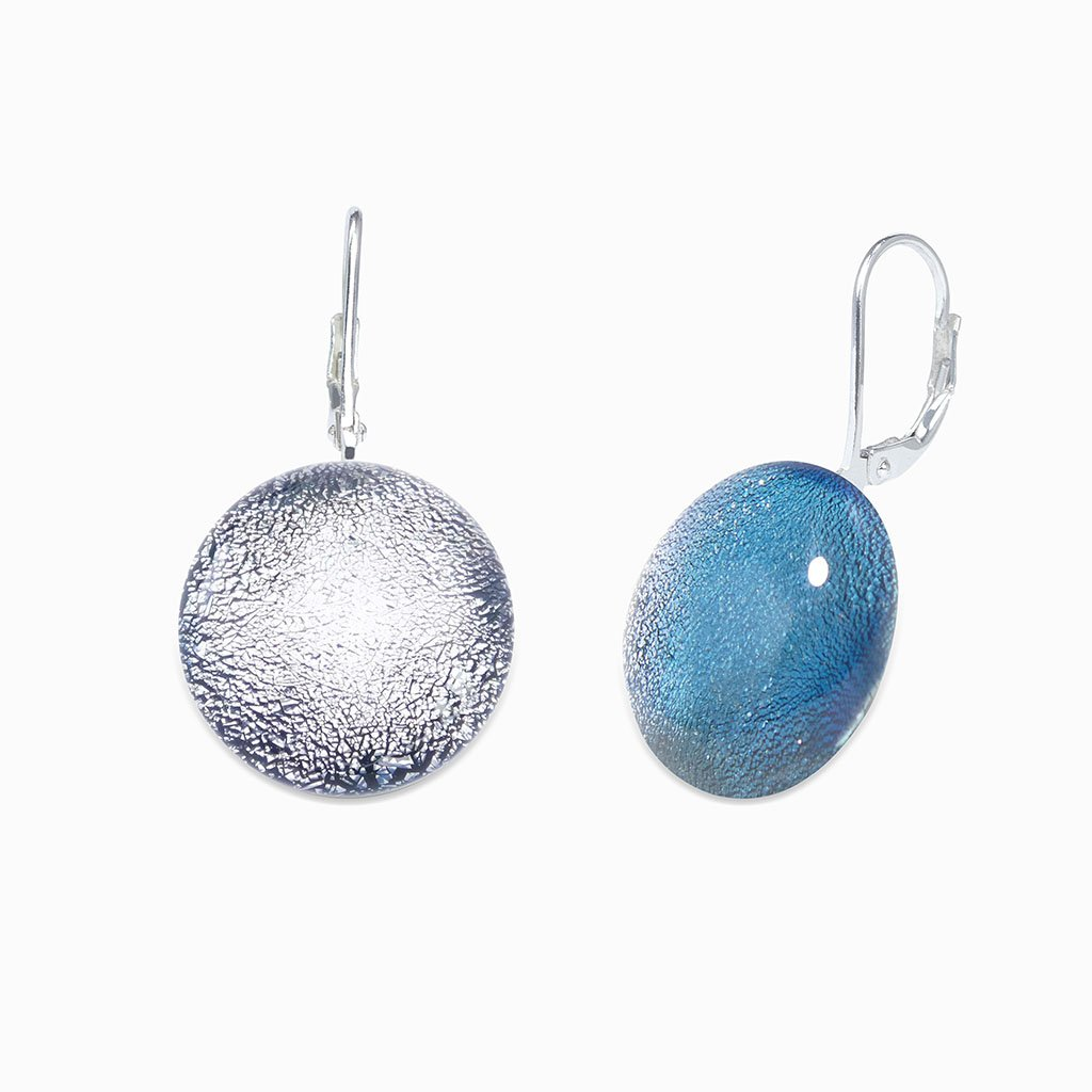 Microcosmoses EARRINGS GLASS REFLET EARRINGS SILVER PEARL ~ AQUA | ECLIPSE | SILVER 925 | REFLET