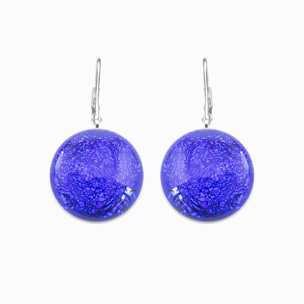Microcosmoses EARRINGS GLASS REFLET EARRINGS STARRY BLUE ~ INDIGO | ECLIPSE | SILVER 925 | REFLET