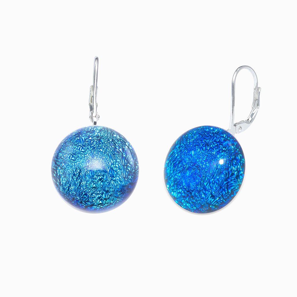 Microcosmoses EARRINGS GLASS REFLET EARRINGS VERT DE BLEU ~ TEAL | ECLIPSE | SILVER 925 | REFLET