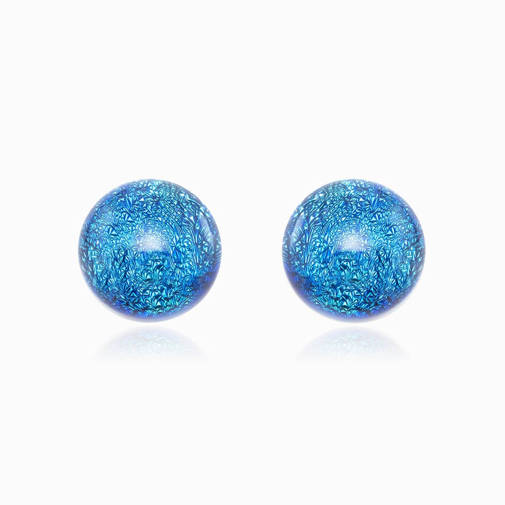 Microcosmoses EARRINGS GLASS REFLET EARRINGS VERT DE BLEU ~ TEAL | ECLIPSE | STUD | REFLET