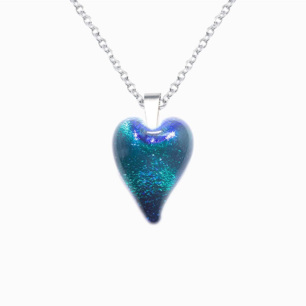 Microcosmoses NECKLACE NECKLACE EMERAUDE ~ IRIS BLUE | HEART | REFLET