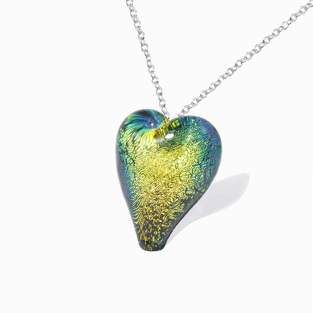 Microcosmoses NECKLACE NECKLACE GOLD  ~ GREEN BOKEH | HEART | REFLET