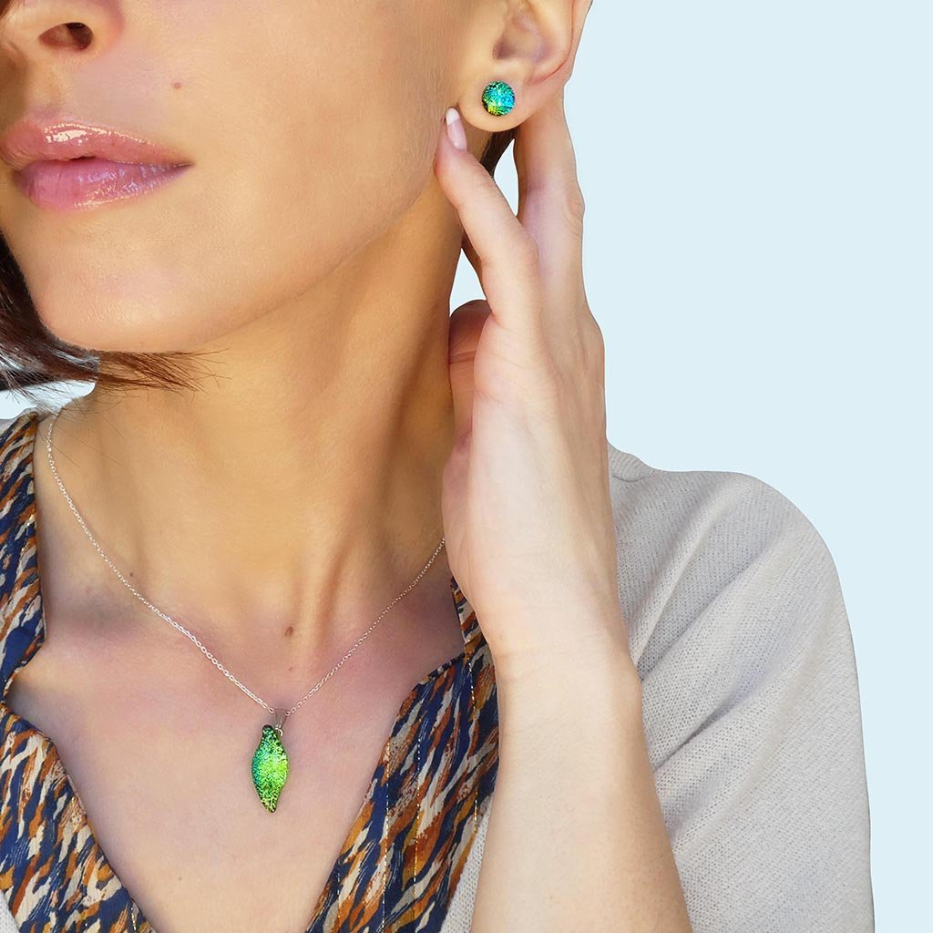 Microcosmoses NECKLACE NECKLACE GREEN KELLY ~ BLUE BELIZE | ALMOND | REFLET