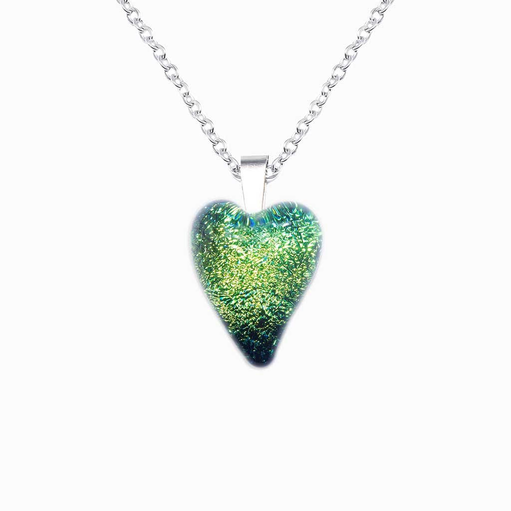 Microcosmoses NECKLACE NECKLACE GREEN KELLY ~ BLUE BELIZE | HEART | REFLET