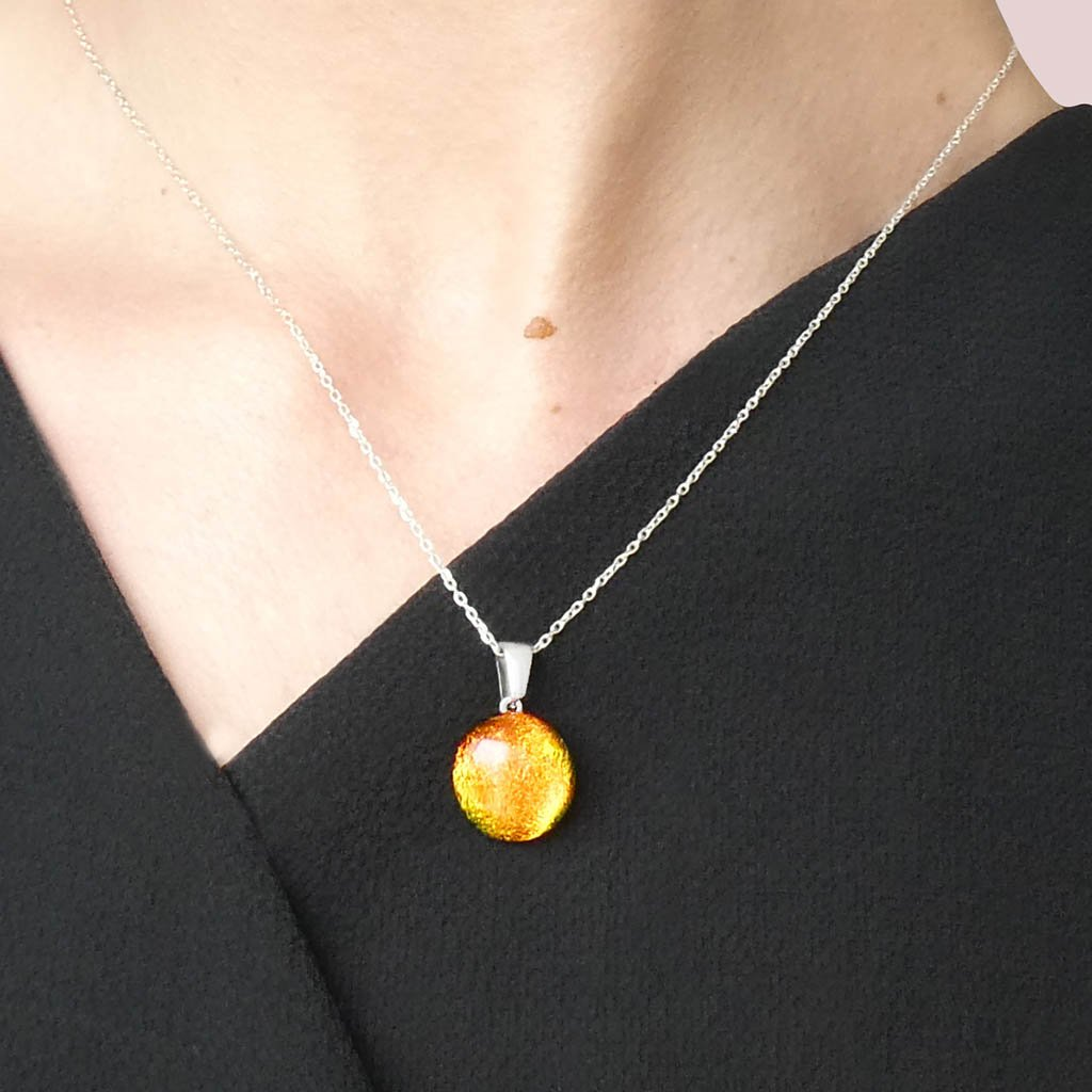 Microcosmoses NECKLACE NECKLACE ORANGE FIRE ~ CRYSTAL GREEN | ECLIPSE | REFLET