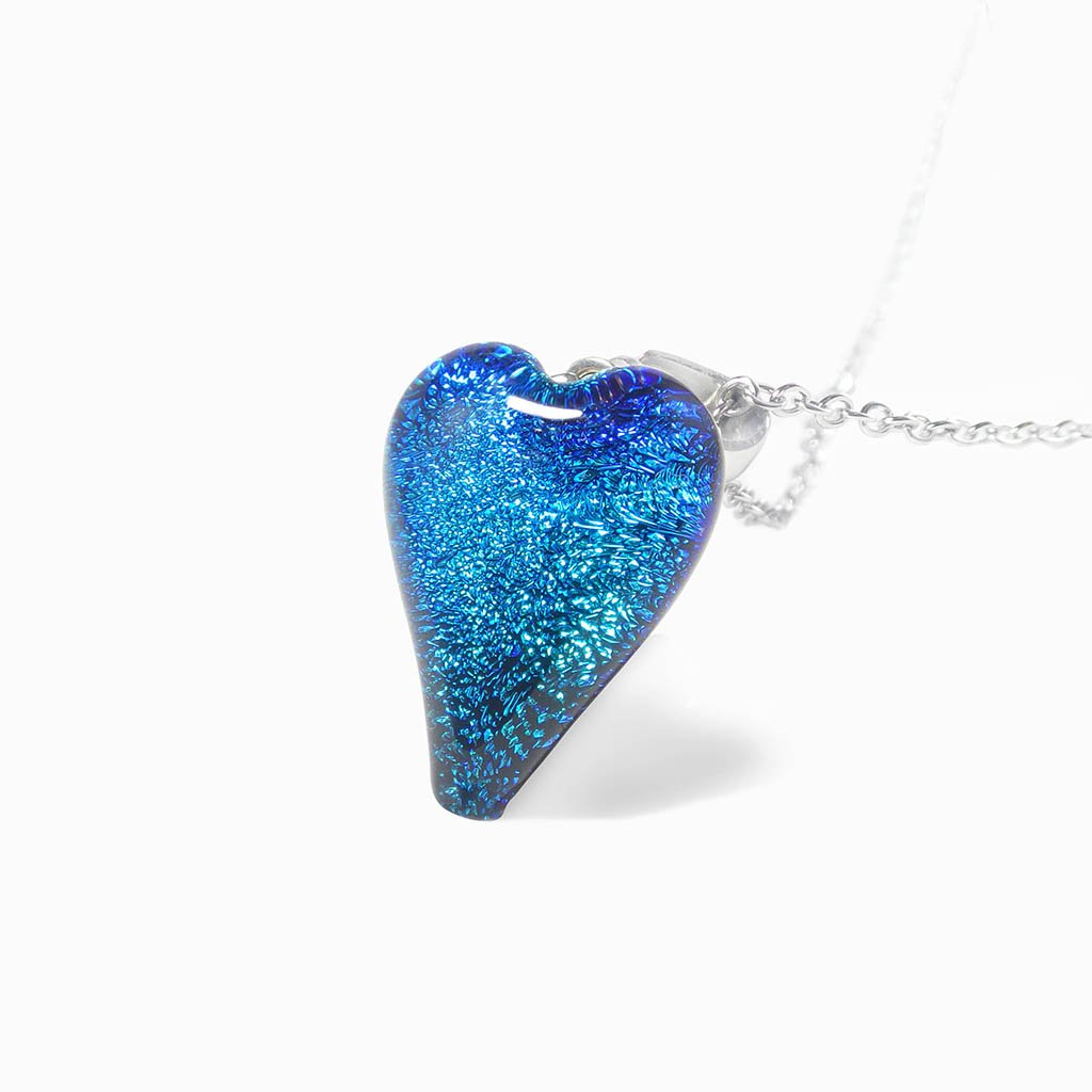 Microcosmoses NECKLACE NECKLACE VERT DE BLEU ~ TEAL | HEART | REFLET
