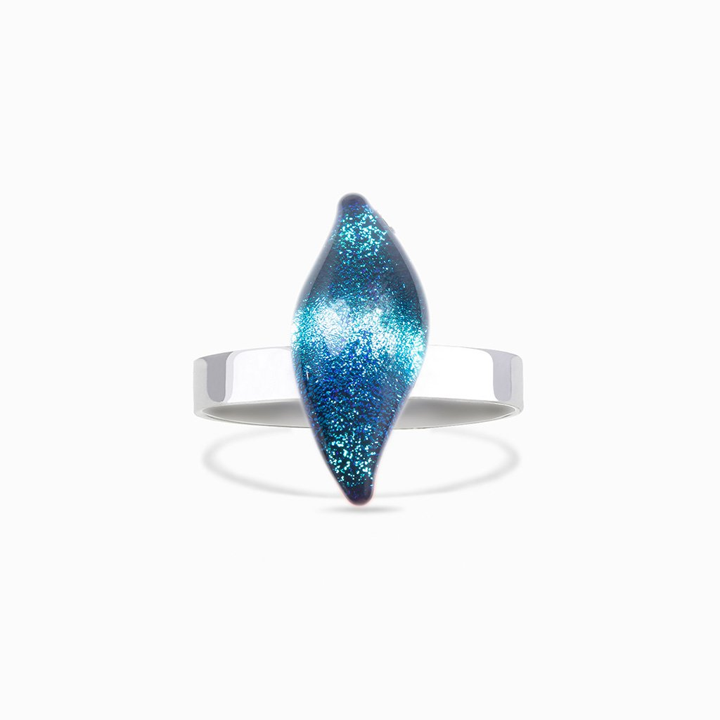 Microcosmoses RINGS GLASS REFLET RING EMERAUDE ~ IRIS BLUE | ALMOND | REFLET