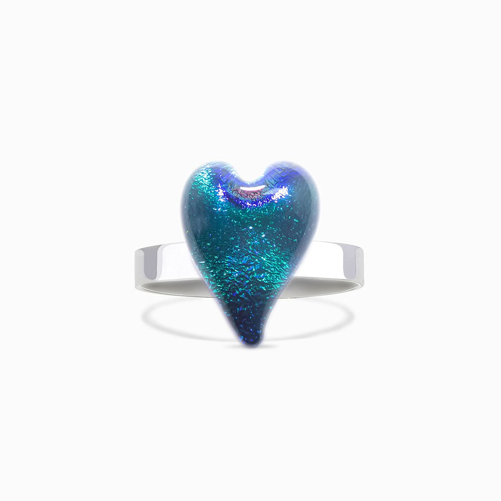 Microcosmoses RINGS GLASS REFLET RING EMERAUDE ~ IRIS BLUE BOKEH | HEART | REFLET