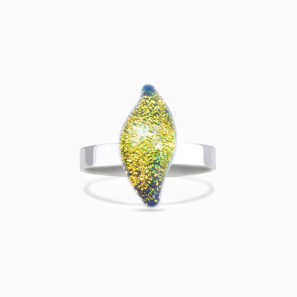Microcosmoses RINGS GLASS REFLET RING GOLD ~ GREEN BOKEH | ALMOND | REFLET