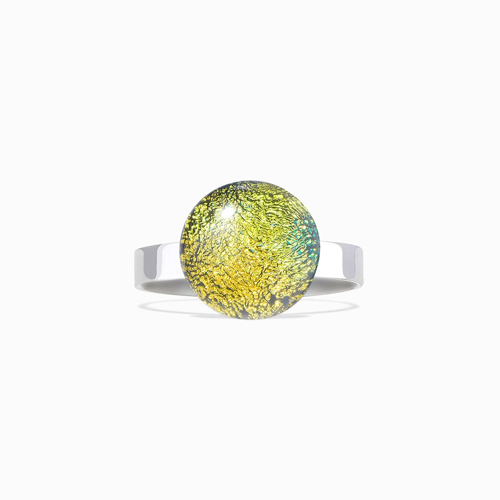 Microcosmoses RINGS GLASS REFLET RING GOLD ~ GREEN BOKEH | ECLIPSE | REFLET