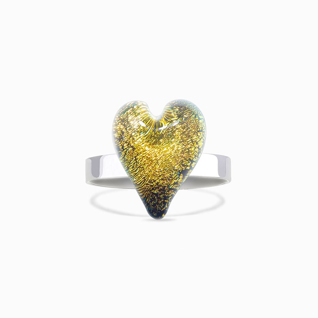 Microcosmoses RINGS GLASS REFLET RING GOLD ~ GREEN BOKEH | HEART | REFLET