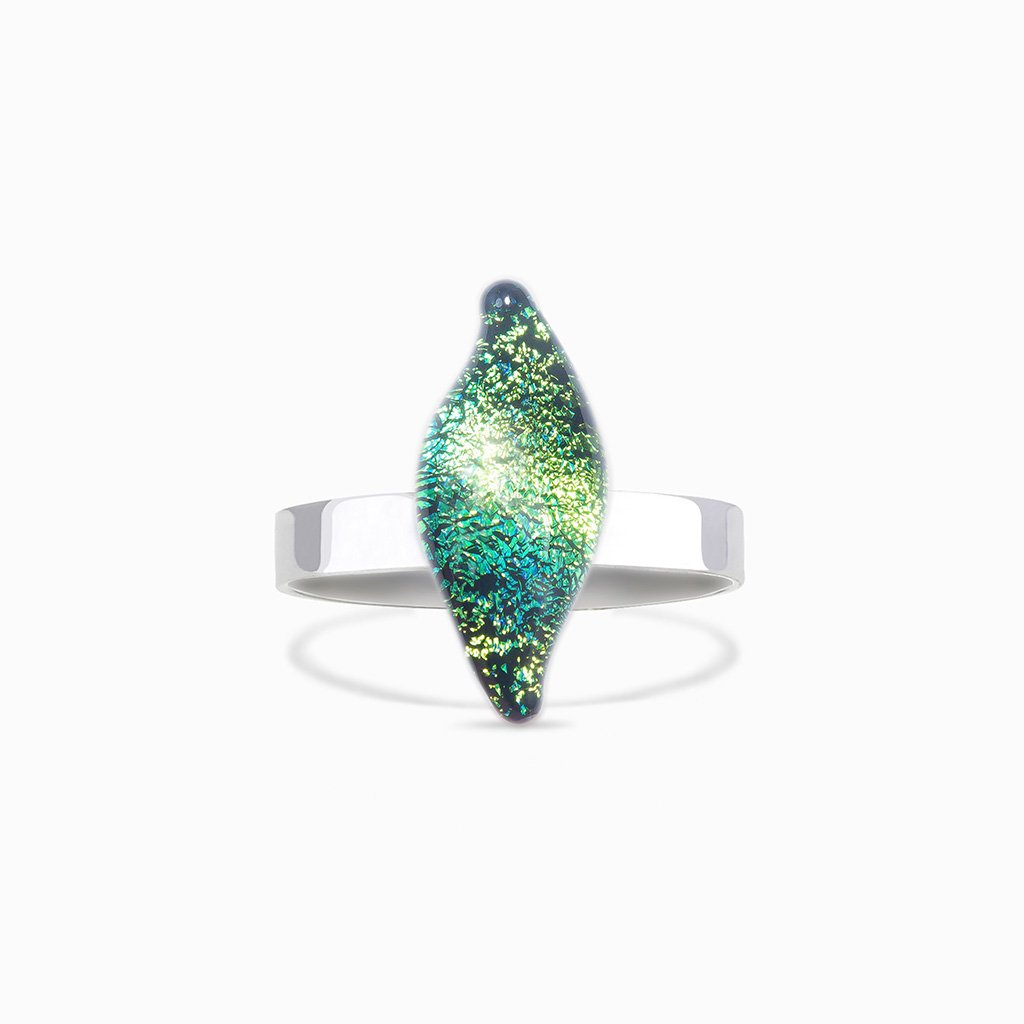 Microcosmoses RINGS GLASS REFLET RING GREEN KELLY ~ BLUE BELIZE | ALMOND | REFLET