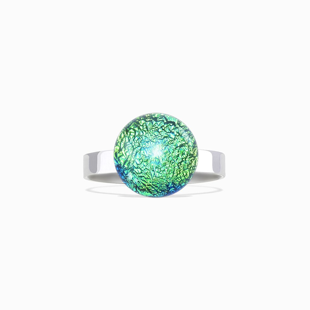 Microcosmoses RINGS GLASS REFLET RING GREEN KELLY ~ BLUE BELIZE | ECLIPSE | REFLET