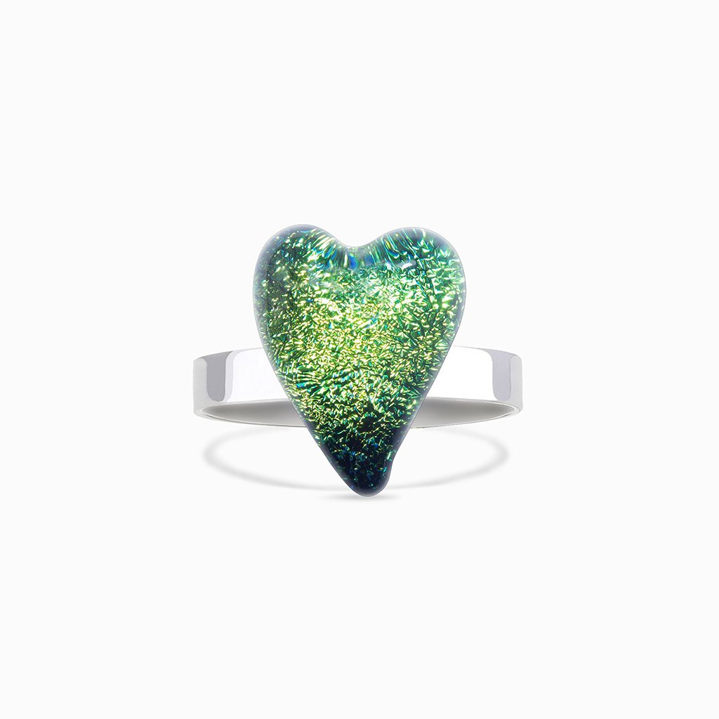 Microcosmoses RINGS GLASS REFLET RING GREEN KELLY ~ BLUE BELIZE | HEART | REFLET