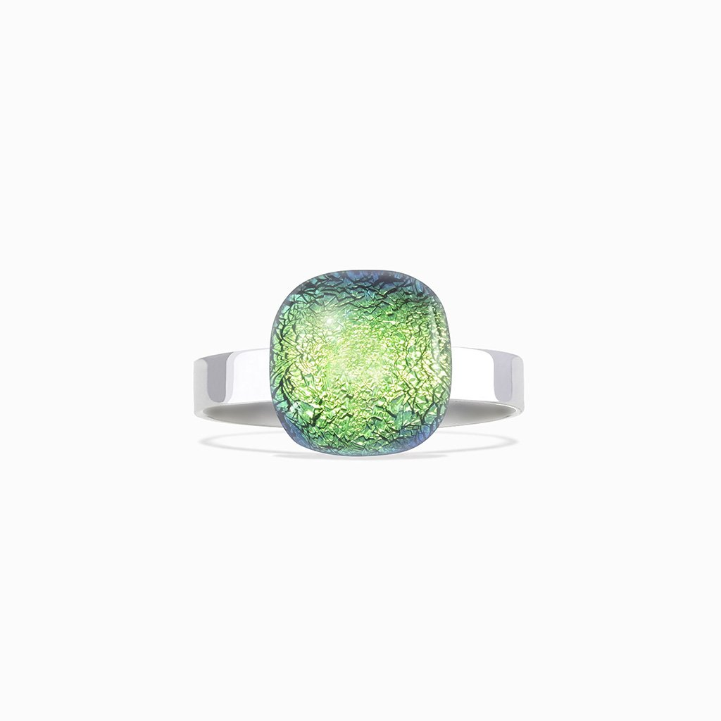 Microcosmoses RINGS GLASS REFLET RING GREEN KELLY ~ BLUE BELIZE | SQUIRCLE | REFLET