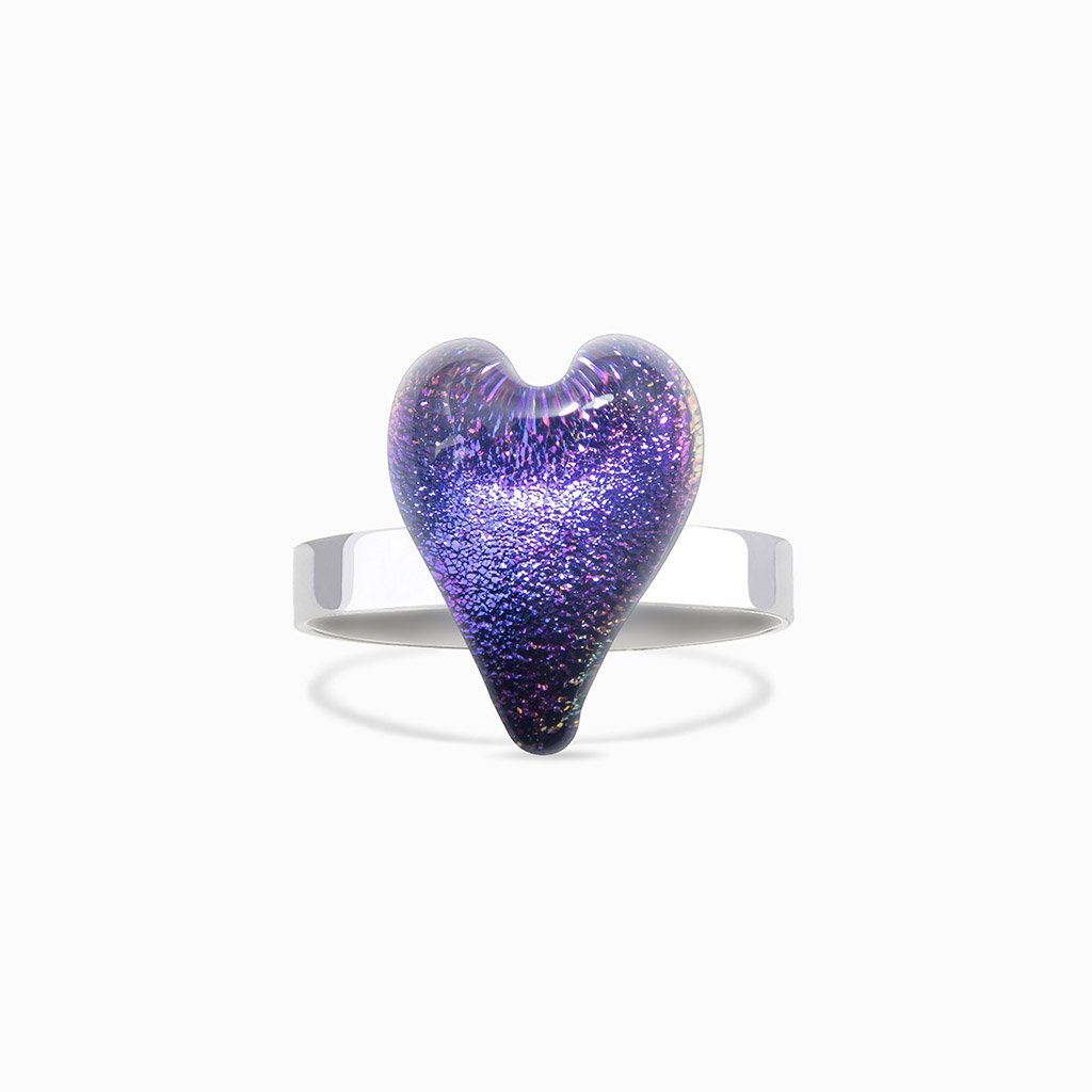 Microcosmoses RINGS GLASS REFLET RING INDIGO ~ ETERNAL FUSHIA | HEART | REFLET