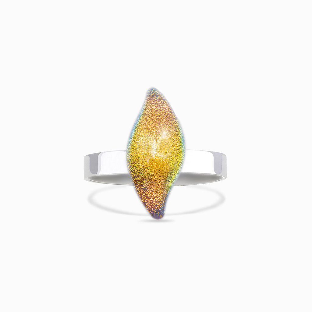 Microcosmoses RINGS GLASS REFLET RING ORANGE FIRE ~ CRYSTAL GREEN | ALMOND | REFLET