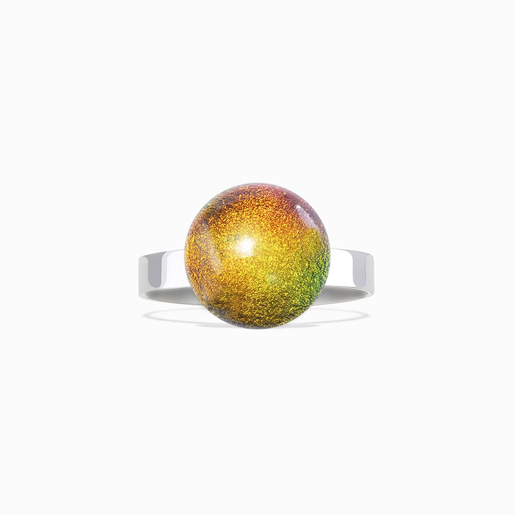 Microcosmoses RINGS GLASS REFLET RING ORANGE FIRE ~ CRYSTAL GREEN | ECLIPSE | REFLET