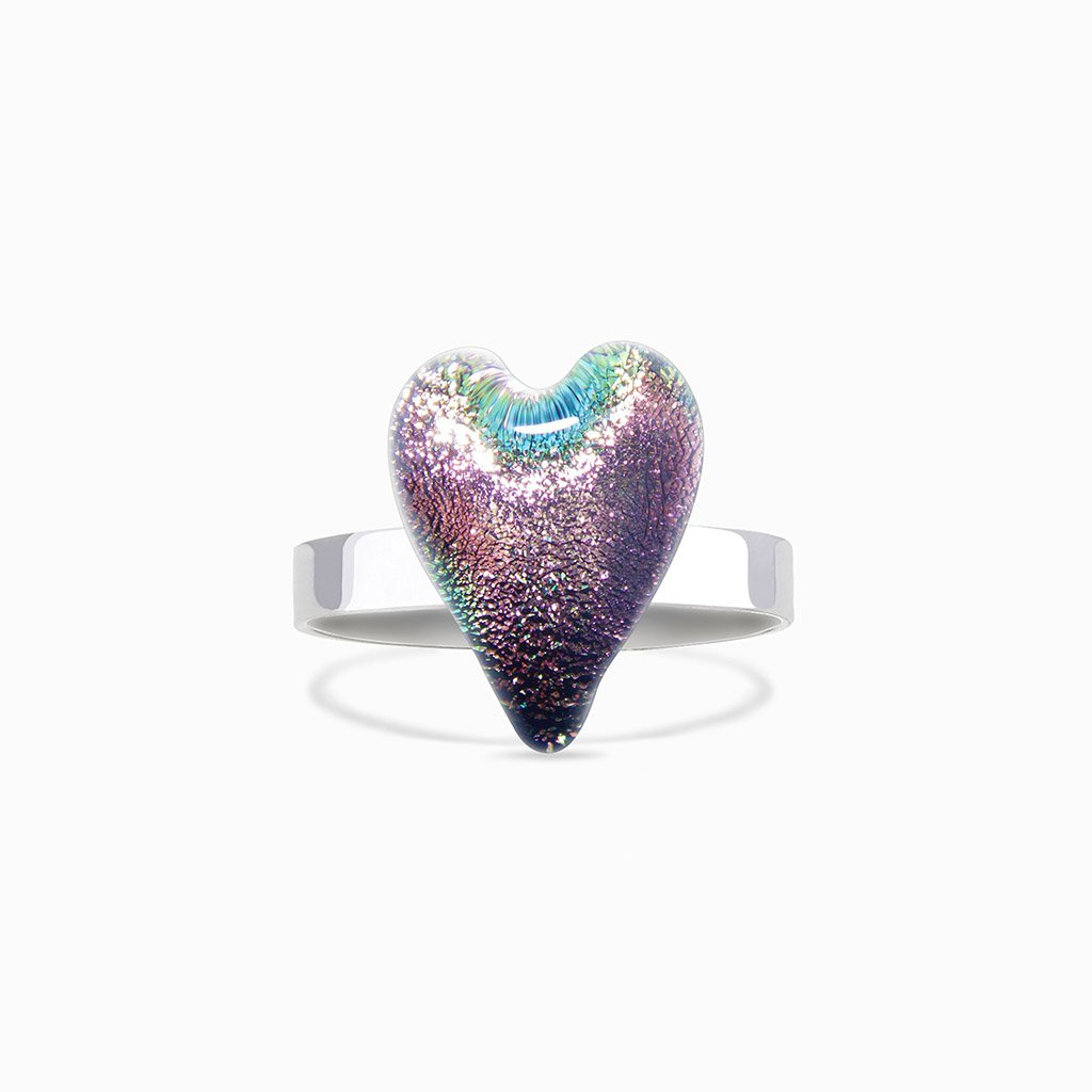 Microcosmoses RINGS GLASS REFLET RING PARME ~ LIGHT GREEN | HEART | REFLET