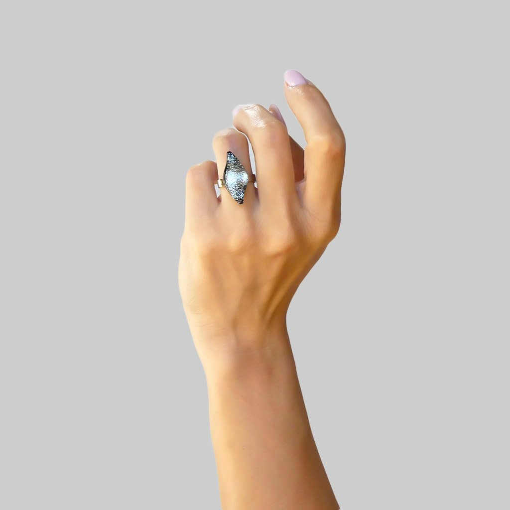 Microcosmoses RINGS GLASS REFLET RING SILVER PEARL ~ AQUA | ALMOND | REFLET