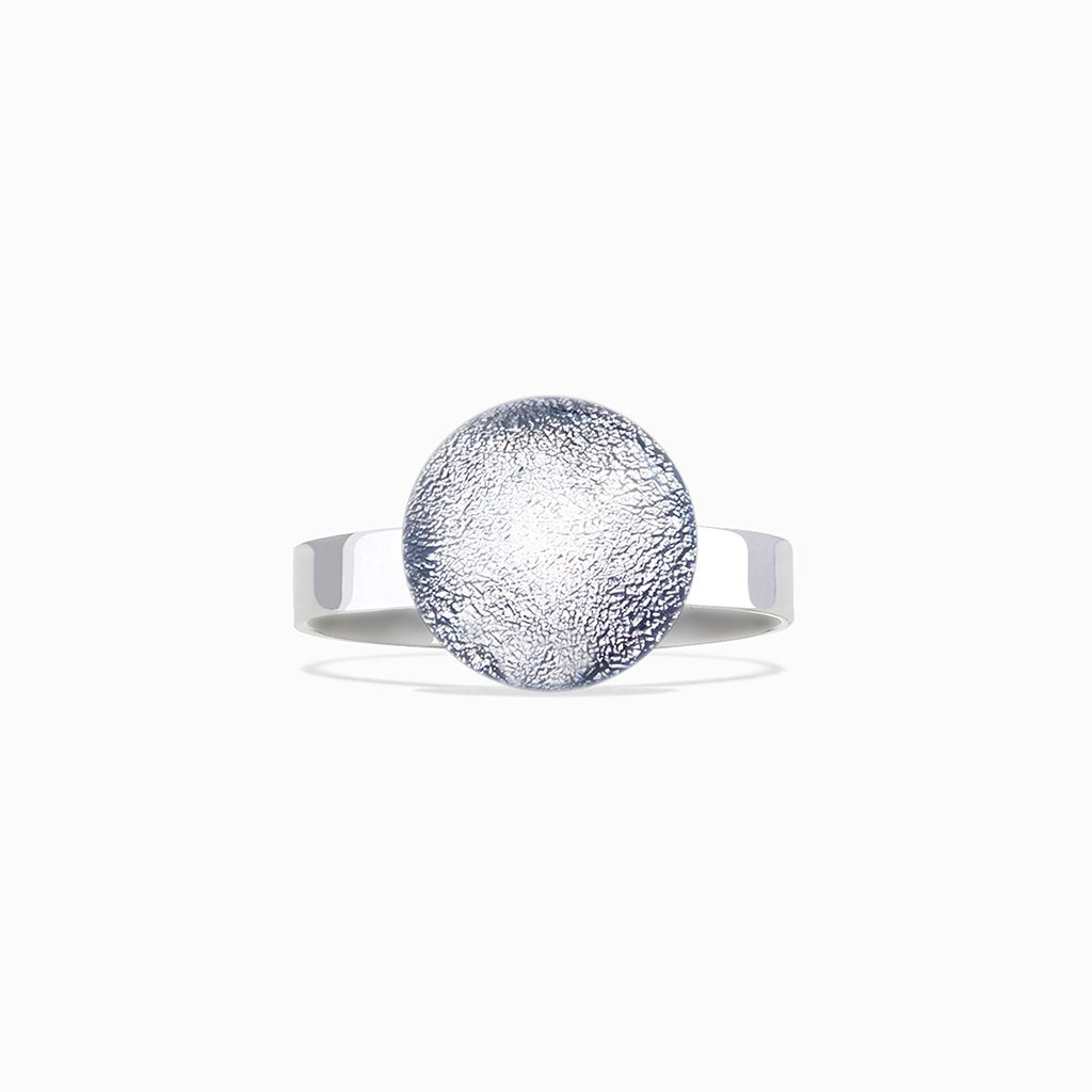 Microcosmoses RINGS GLASS REFLET RING SILVER PEARL ~ AQUA | ECLIPSE | REFLET