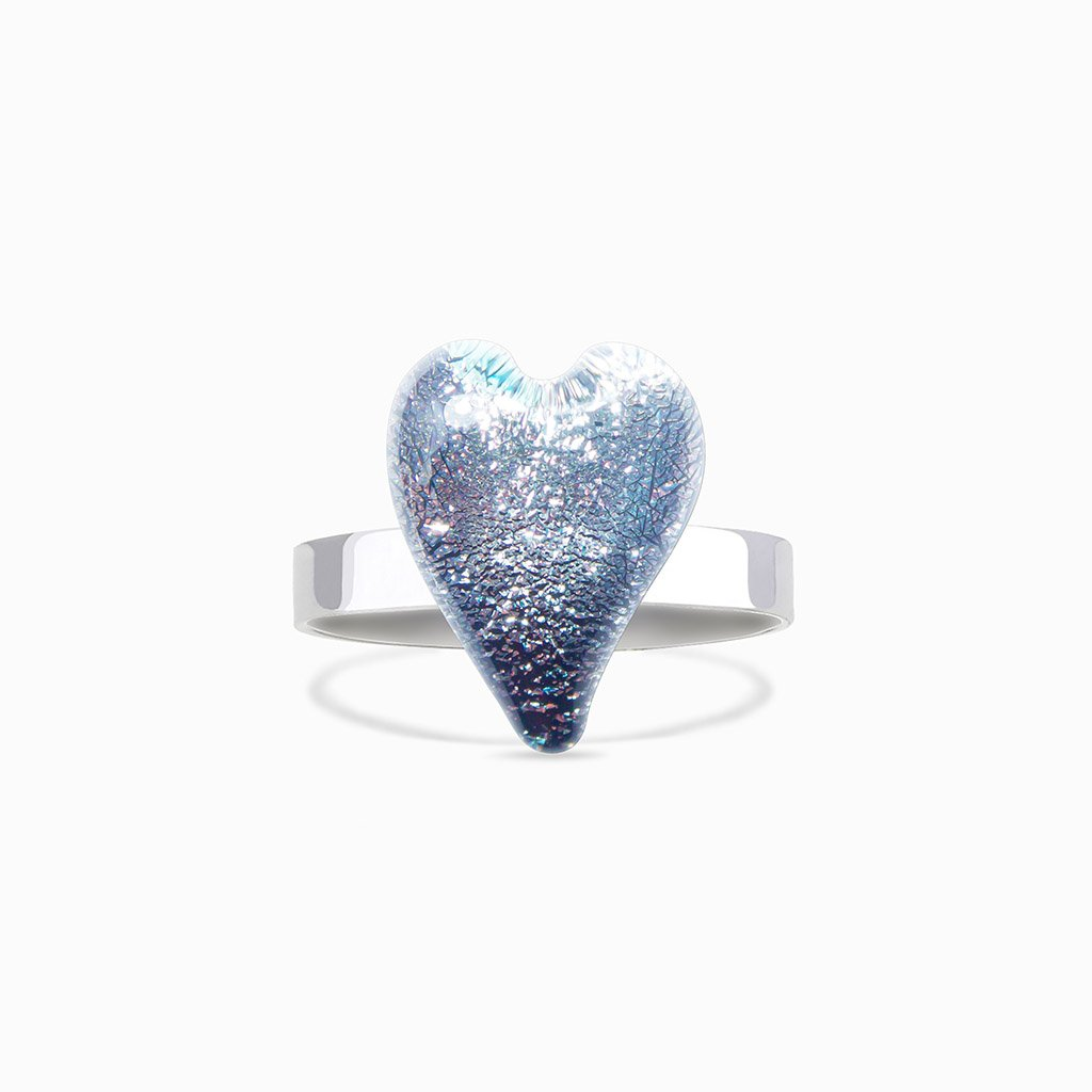 Microcosmoses RINGS GLASS REFLET RING SILVER PEARL ~ AQUA | HEART | REFLET