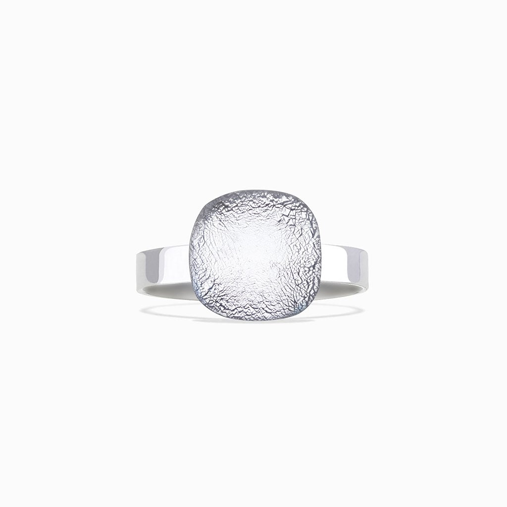Microcosmoses RINGS GLASS REFLET RING SILVER PEARL ~ AQUA | SQUIRCLE | REFLET