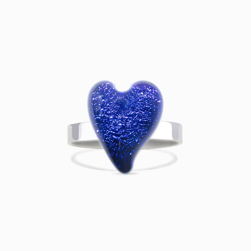 Microcosmoses RINGS GLASS REFLET RING STARRY BLUE ~ INDIGO | HEART | REFLET