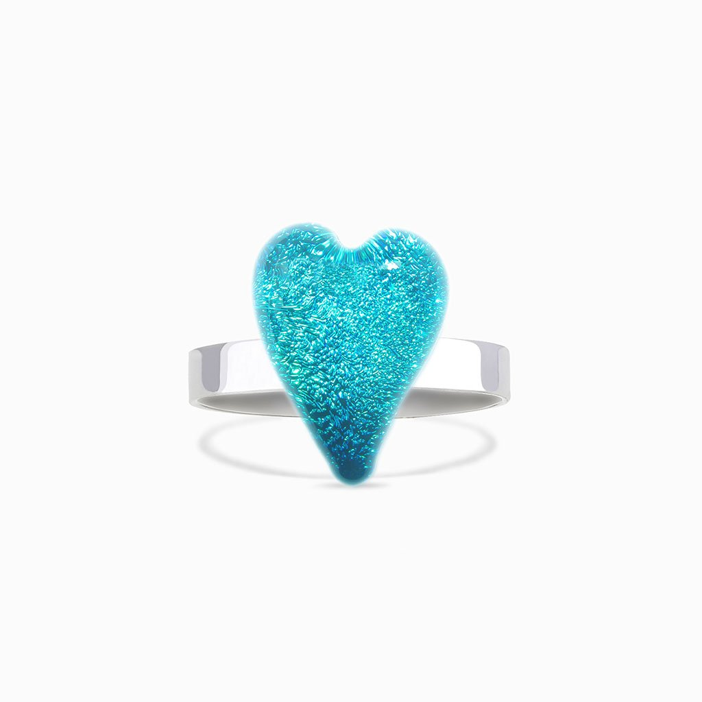 Microcosmoses RINGS GLASS REFLET RING TURQUOISE ~ NIGHT BLUE | HEART | REFLET