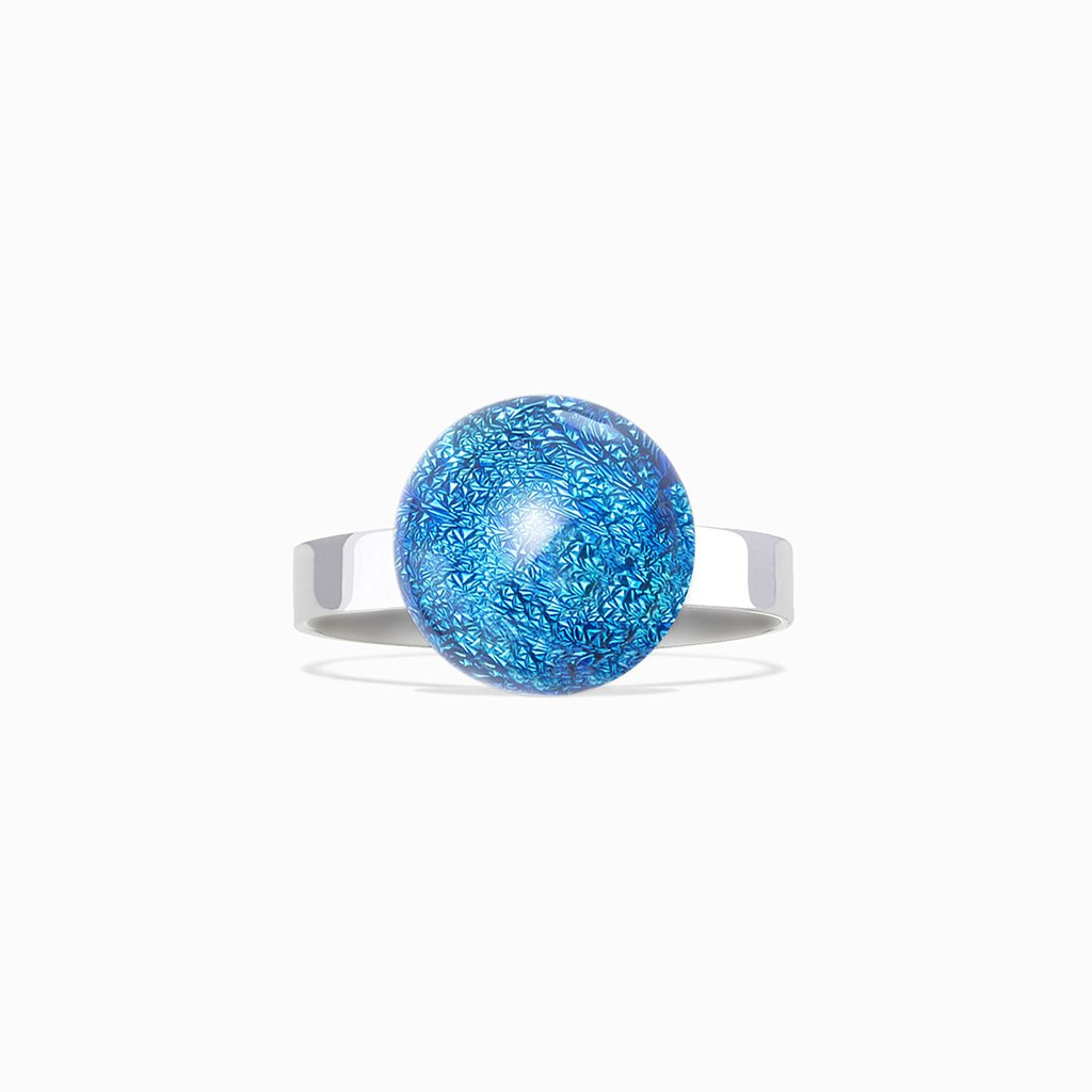 Microcosmoses RINGS GLASS REFLET RING VERT DE BLEU ~ TEAL | ECLIPSE | REFLET