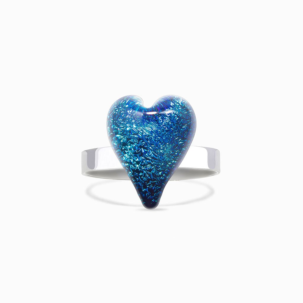 Microcosmoses RINGS GLASS REFLET RING VERT DE BLEU ~ TEAL | HEART | REFLET
