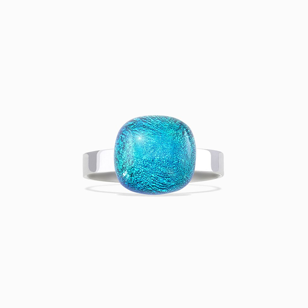 Microcosmoses RINGS GLASS REFLET RING VERT DE BLEU ~ TEAL | SQUIRCLE | REFLET