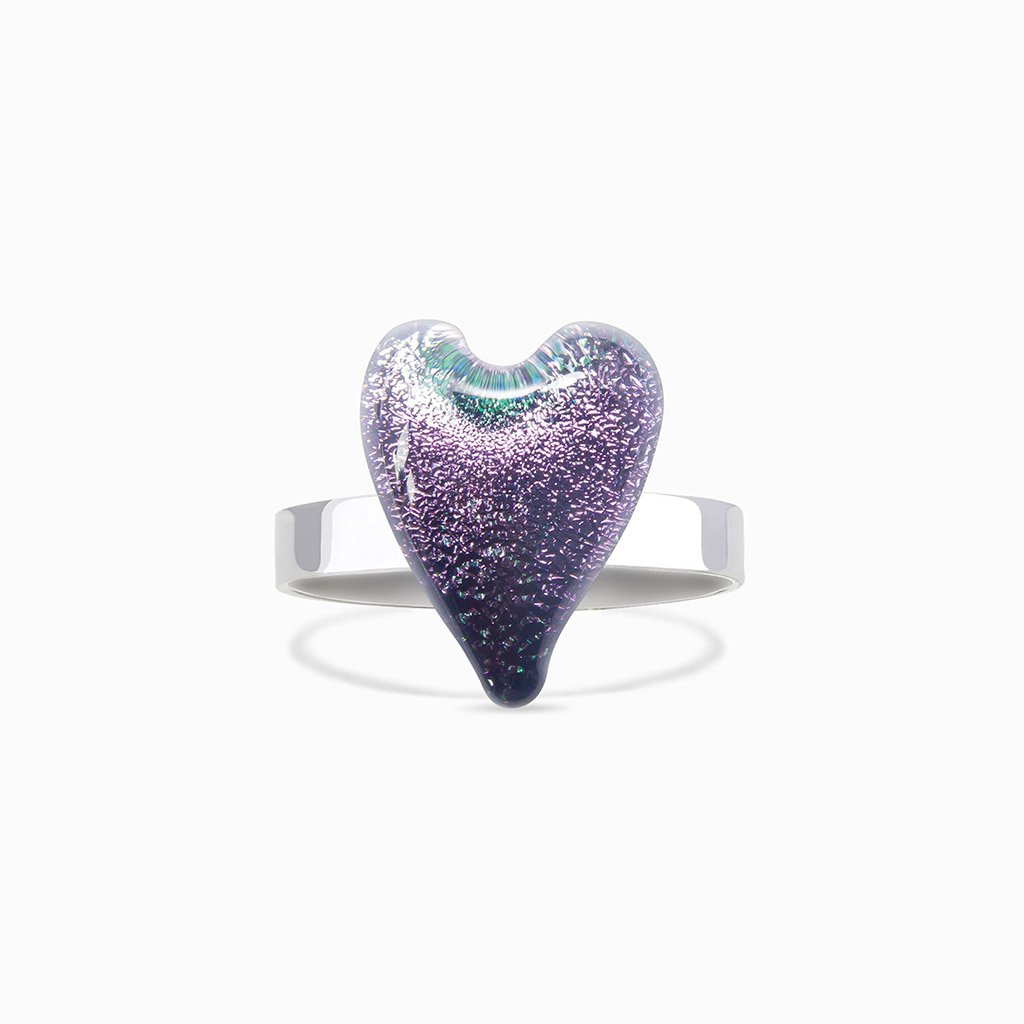 Microcosmoses RINGS GLASS REFLET RING VIOLET ~ EMERALD | HEART | REFLET