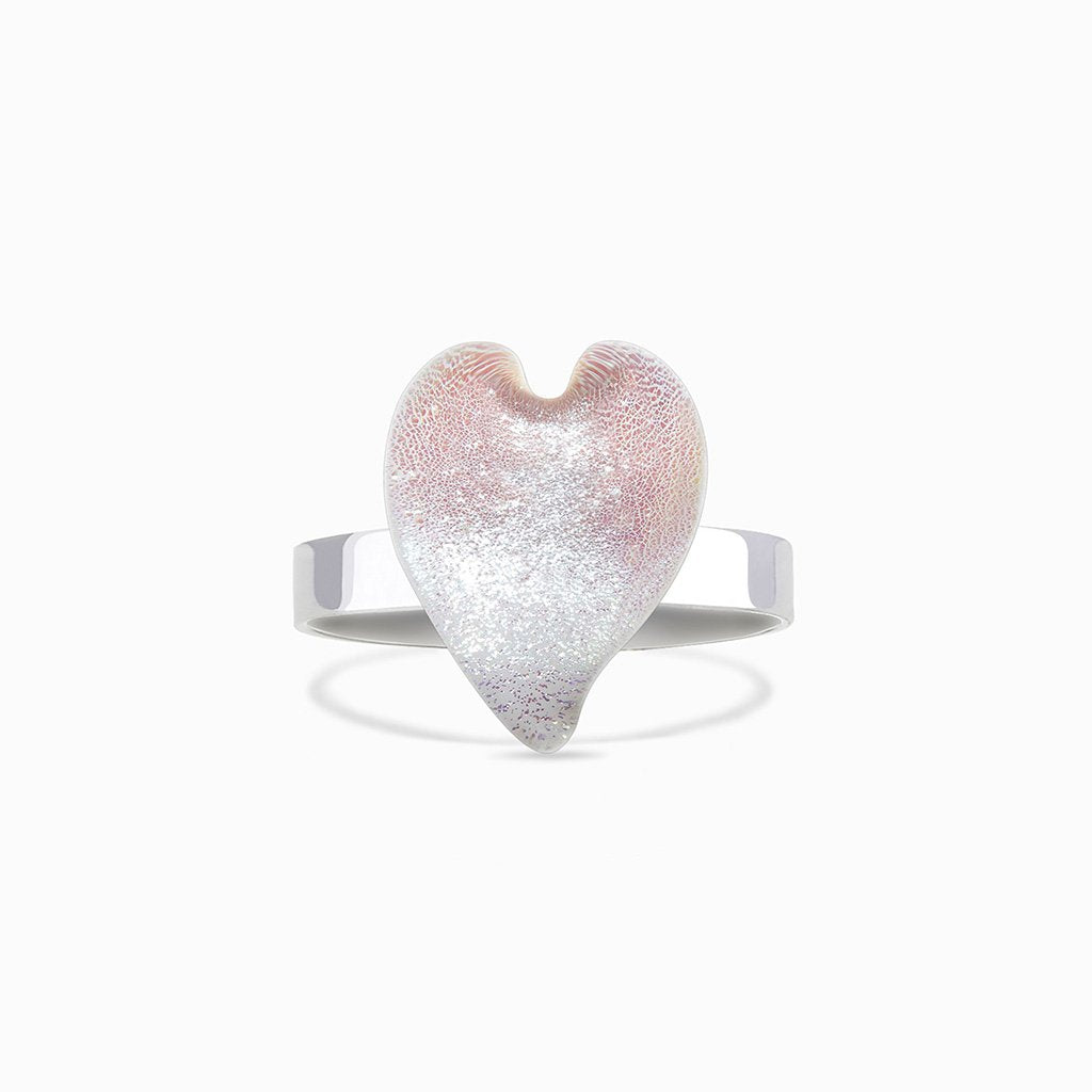 Microcosmoses RINGS GLASS REFLET RING WHITE RIVER | HEART | REFLET