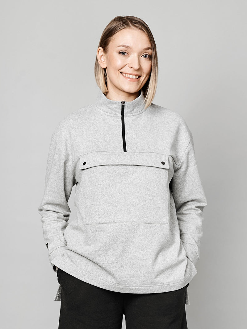Women's Pure Anorak Sweatshirt, light grey melange