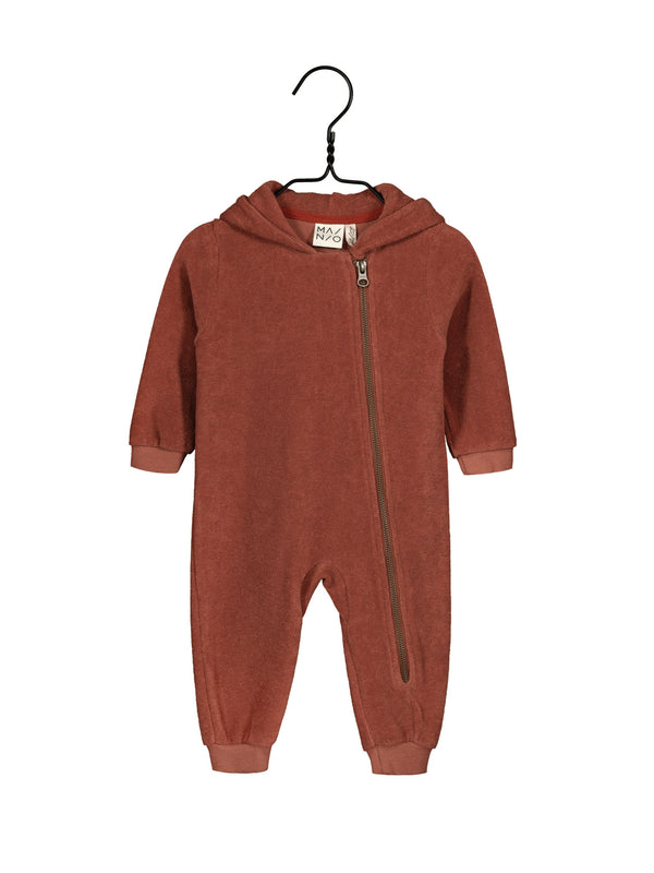 Terry Hooded Jumpsuit, Russet