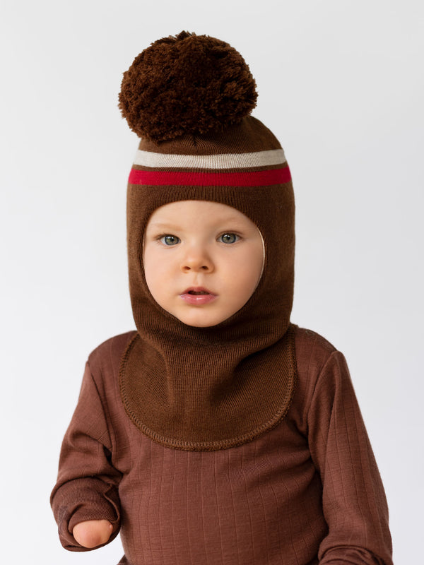 Stripe Balaclava with Pompom, brown