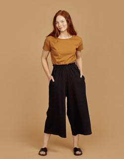 Women's slub culottes, black