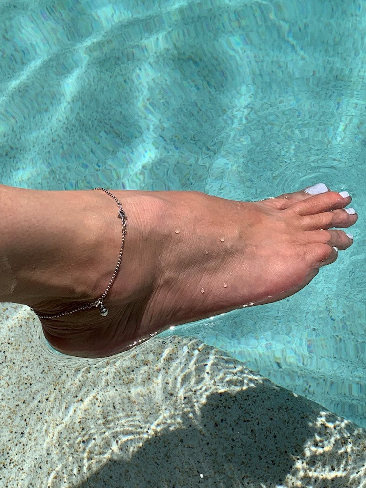 Tiny sterling silver ball chain stars/starfish anklet with little bell charm