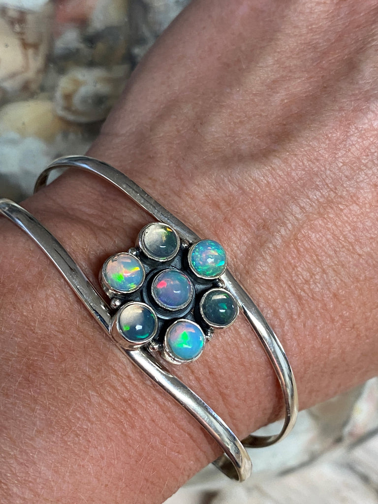 Virtue - wide double band sterling silver natural Ethiopian opal cuff bangle