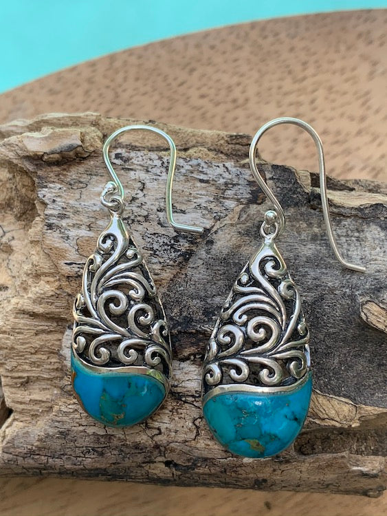 Sea Breeze 1 - natural kingman turquoise oxidized sterling silver filigree teardrop earrings
