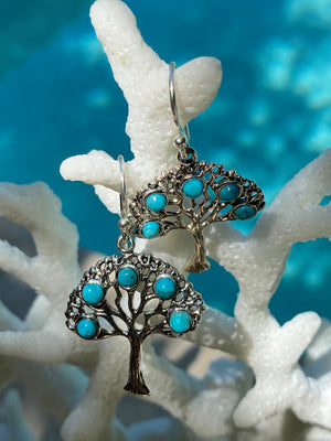 Southwestern Arizona Mohave Turquoise Tree of Life Sterling Silver earrings