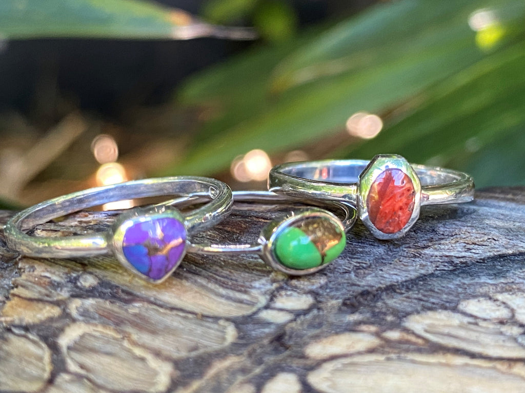 Stacks Of Love! Set of three sterling silver, purple, green and red copper turquoise rings - Size 7