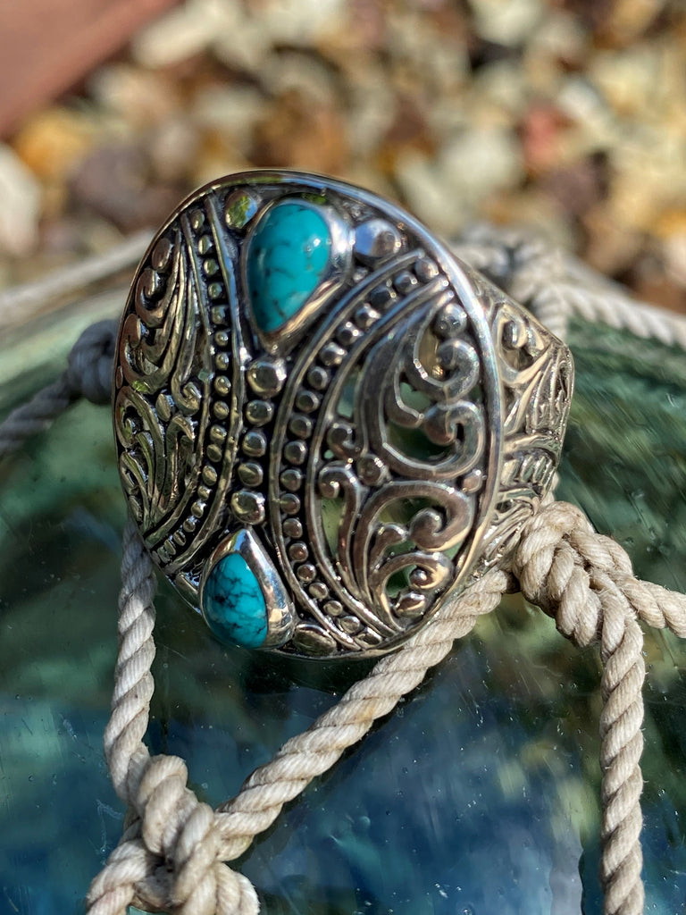 The Goddess - Balinese sterling silver 925 turquoise filigree statement ring