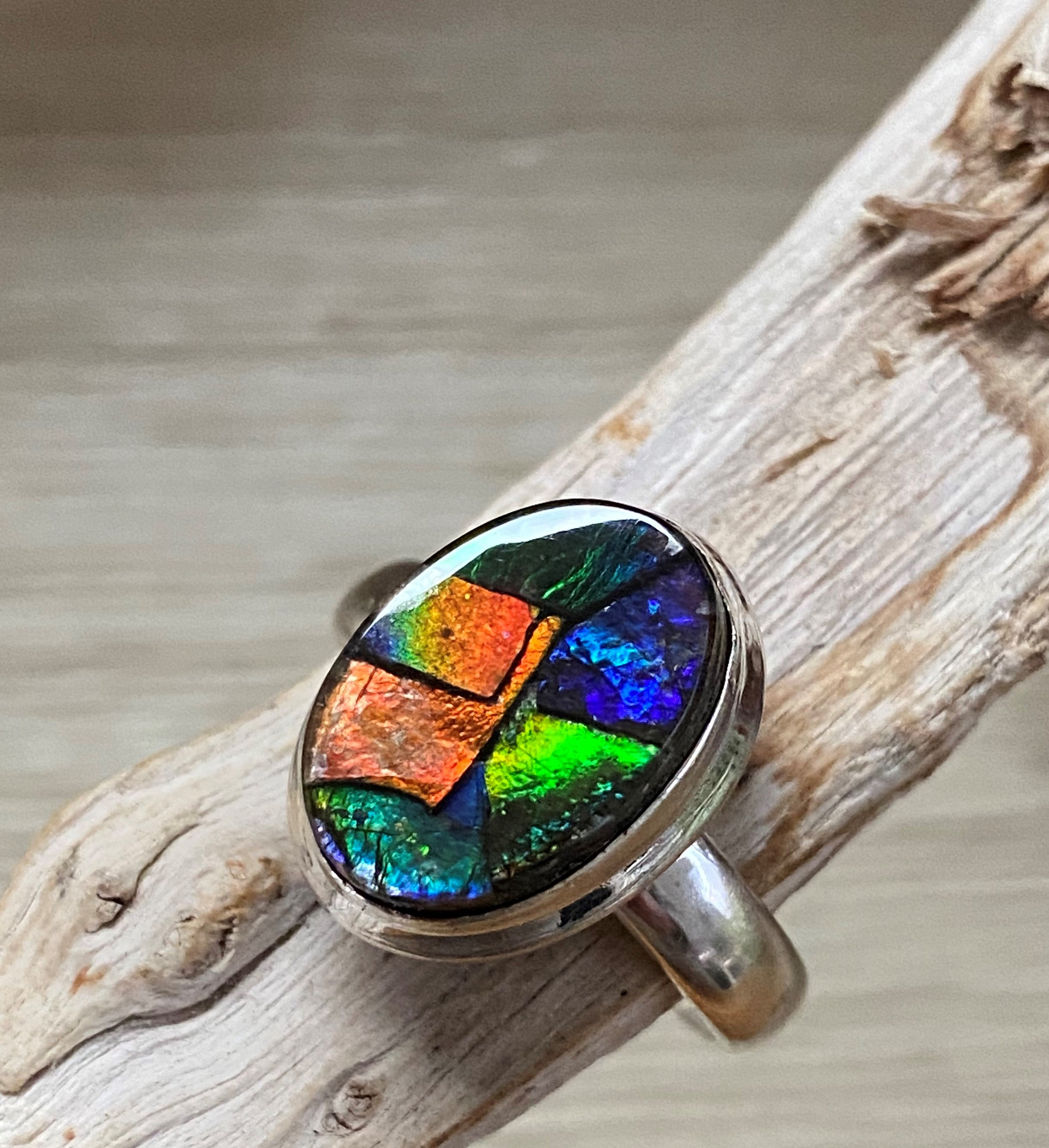 Chameleon 2 - Beautiful multi colour Ammolite triplet oval sterling silver ring - Size 8